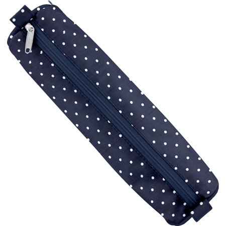 Round pencil case navy blue spots