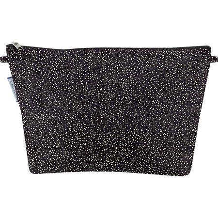 Cosmetic bag with flap noir pailleté