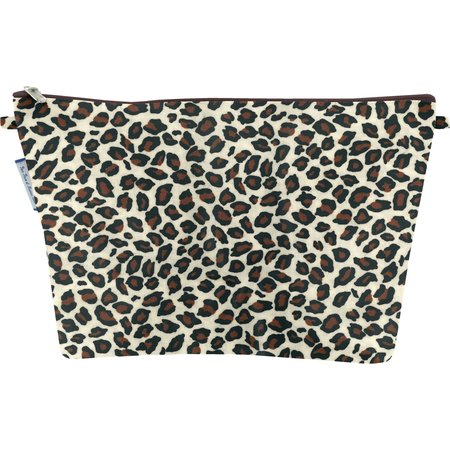 Cosmetic bag with flap leopard print