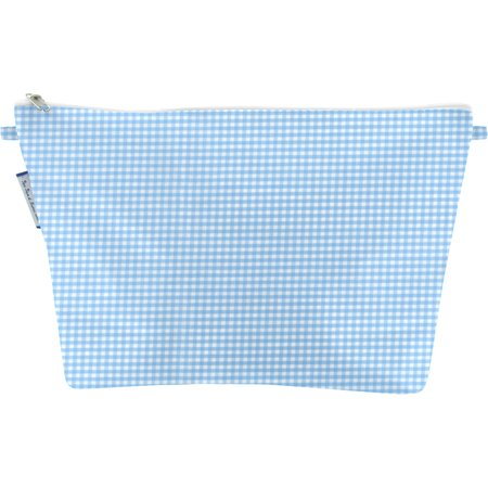 Cosmetic bag with flap sky blue gingham
