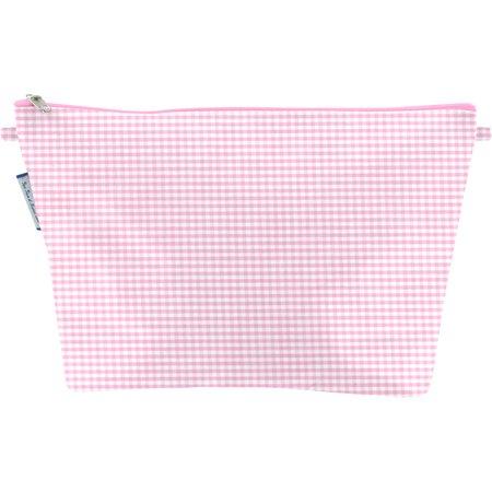 Bolsa de baño con lengüeta cuadros vichy rosa