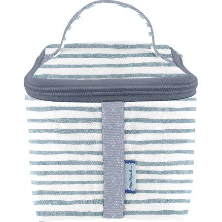 Small vanity striped blue gray glitter