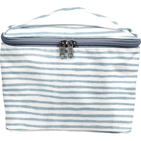 Large vanity striped blue gray glitter