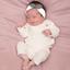 Bandeau jersey bébé noeud gaze gris or