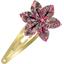 Barrette clic-clac fleur étoile lichen prune rose - PPMC