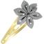 Barrette clic-clac fleur étoile  pois argent gris - PPMC