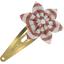 Barrette clic-clac fleur étoile rayures cuivrées