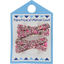 Barrette clic-clac mini ruban lichen prune rose - PPMC