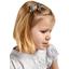 Barrette clic-clac mini ruban milli fleurs vert azur