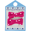 Small ribbons hair clips fuschia spots - PPMC