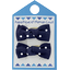 Small bows hair clips navy blue spots