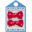 Barrettes clic-clac petits noeuds pois rouge - PPMC