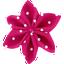 Pasador flor estrella lunares fucsias