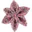 Barrette fleur étoile 4 lichen prune rose - PPMC