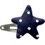 barrette clic-clac étoile pois marine - PPMC
