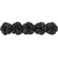 Japan flower hair slide-large size noir pailleté - PPMC