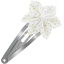 Star flower hairclip white sequined - PPMC