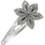 Star flower hairclip etoile or gris