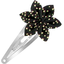 Star flower hairclip noir pailleté