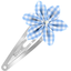 Star flower hairclip sky blue gingham - PPMC