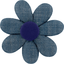 Fabrics flower hair clip light denim - PPMC