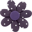 Barrette fleur marguerite pois prune - PPMC