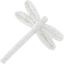 Dragonfly hair slide white sequined - PPMC