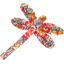 Dragonfly hair slide peach flower - PPMC