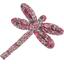 Barrette libellule lichen prune rose - PPMC