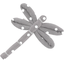 Dragonfly hair slide light grey spots - PPMC