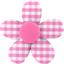 Petite barrette mini-fleur vichy fuchsia - PPMC