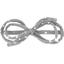 Barrette noeud arabesque  pois argent gris - PPMC