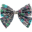 Bow tie hair slide green azure flower - PPMC