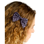 Bow tie hair slide plum spots