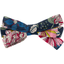 Barrette noeud ruban dahlia rose marine
