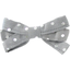 Ribbon bow hair slide silver grey spots - PPMC