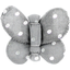 Barrette petit papillon  pois argent gris - PPMC