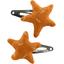 Barrettes clic-clac étoile paille dorée caramel - PPMC