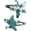 Star hair-clips celadon violette - PPMC