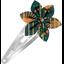 Barrette clic-clac fleur étoile eventail or vert - PPMC