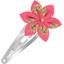 Barrette clic-clac fleur étoile feuillage or rose - PPMC