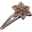 Barrette clic-clac fleur étoile lin or - PPMC