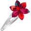 Barrette clic-clac fleur étoile pompons cerise - PPMC