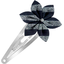 Star flower hairclip striped silver dark blue