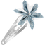 Star flower hairclip striped blue gray glitter - PPMC