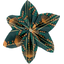 Star flower 4 hairslide eventail or vert - PPMC