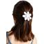 Barrette fleur marguerite  blanc pailleté