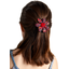 Fabrics flower hair clip vermilion foliage
