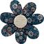 Barrette fleur marguerite paquerette marine - PPMC