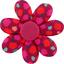 Barrette fleur marguerite pompons cerise - PPMC